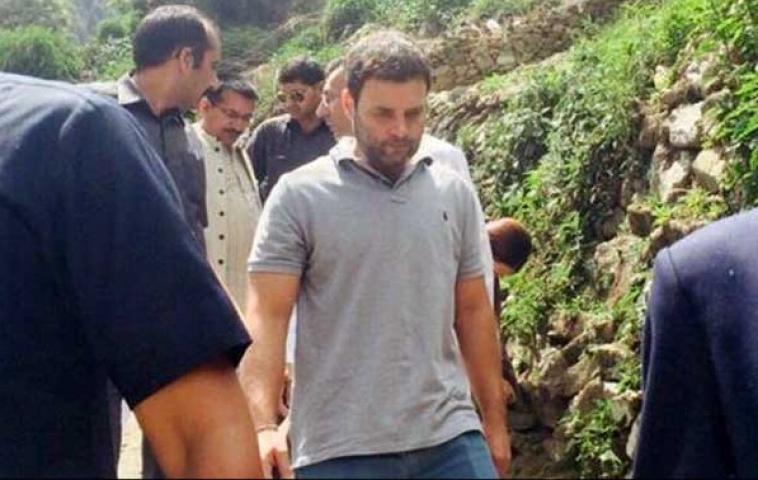 लिंचैली से केदारनाथ तक पैदल चले राहुल