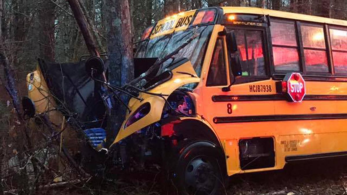 School bus catches fire after colliding with transformer, 15 injured