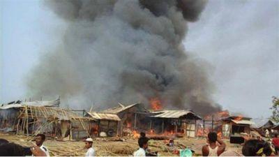 रोहिंग्या शरणार्थियों के कैंप में भीषण आग