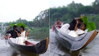 VIDEO: प्री वेडिंग शूट के दौरान किस करने वाला था कपल, अचानक पलट गई नाव और फिर..
