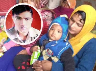 बेटी को गोद में लिए रोती-बिलखती रही शहीद विजय की पत्नी, कहा- पाकिस्तान को उड़ा दो