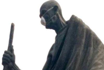 महात्मा गांधी पर पॉल्यूशन मास्क