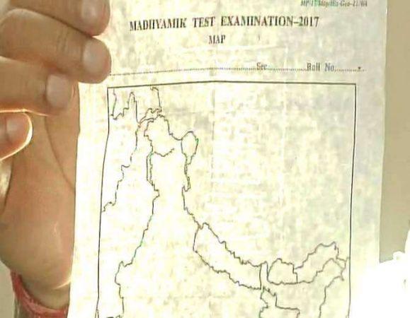 पश्चिम बंगाल के एग्जाम में बांटा गया गलत नक्शा