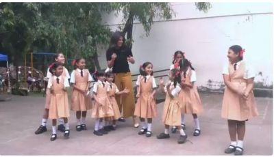 Watch :Priyanka Chopra takes LoveYatri's Chogada challenge with school girls