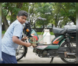 A student studying in a government school makes bike running on hydrogen