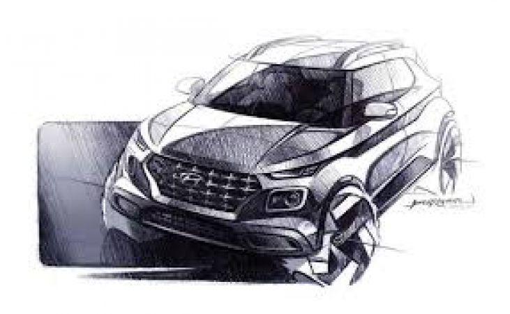 Hyundai Venue एसयूवी का स्कैच हुआ जारी, दिखने में है आकर्षक