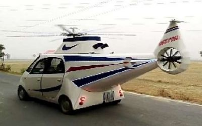 Man Modifies Tata Nano Into Helicopter Car In Bihar