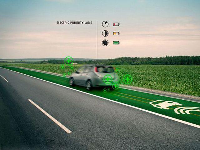 कार चार्ज करने वाली सड़क...
