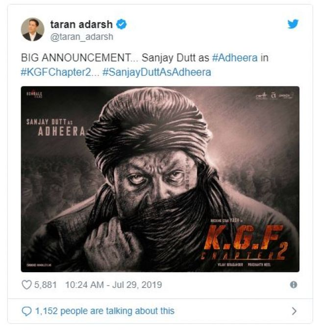 Sanjay Dutt Looks Deadly As Adheera In Yash Starrer KGF 2