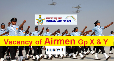 Hurry! Vacancy for Airmen In Group X And Group Y in Indian Air Force
