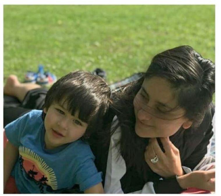 Taimur Ali Khan spotted enjoying on green grass with mom Kareena