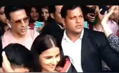 VIDEO: During the promotion, Vidya was crowded by fans; Akshay was seen defending her!