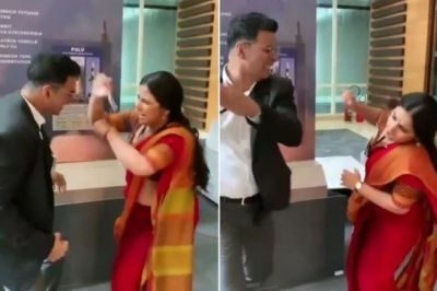 VIDEO: Vidya kicked Akshay in such a manner that he couldn't stand!