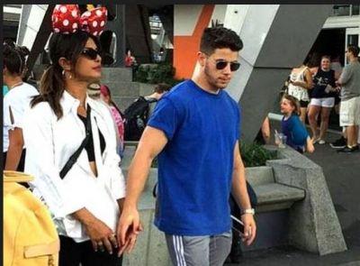 Priyanka Chopra was spotted walking around Disneyland with her husband!