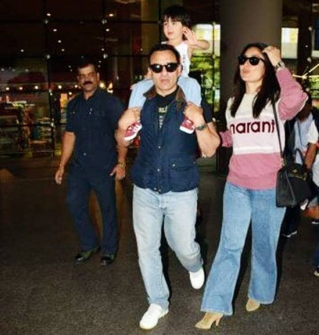 Saif-Kareena, who returned from London, Taimur was seen over Dad's shoulders!