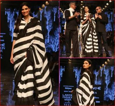 Sunil Shetty's daughter set fire in a black and white saree!