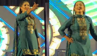 VIDEO: Sapna won hearts in a green suit, the stage was echoed by the sound of gunfire!
