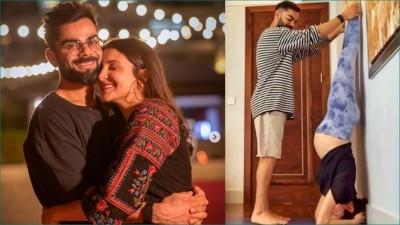 Aww so cute!  Virat helps Pregnant Wife Anushka Sharma Performing Shirshasana