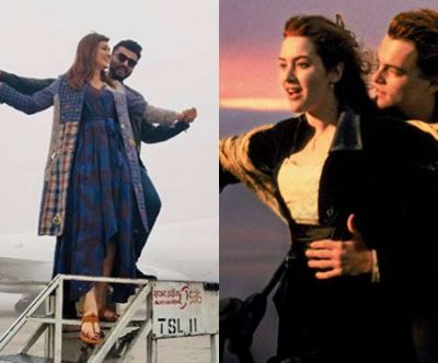 Arjun Kapoor and Kriti Sanon gave 'Titanic Pose' at Mumbai airport