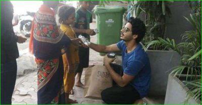 Ishaan Khattar seen distributing food to poor children