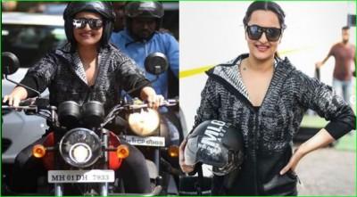 Sonakshi arrives in Kareena's show riding a bike, fans following her