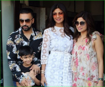 Shilpa Shetty arrives at the restaurant to celebrate her sister's birthday, husband is also seen