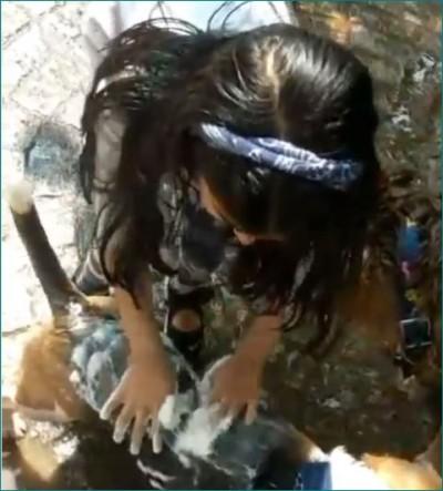 Akshay Kumar's daughter gives their dog a bath, Watch video