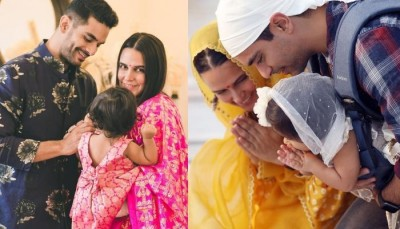Daughter Maihar helps Angad Bedi to walk after knee surgery, watch the cute video here