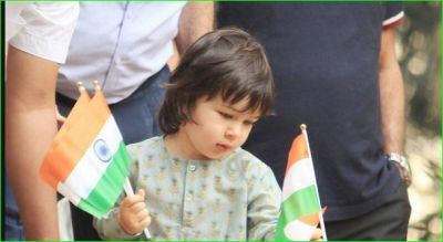 Taimur looks happy with tricolor in his hand on Republic Day