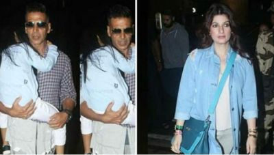VIDEO: Akshay Kumar, Twinkle left for London with their daughter sleeping