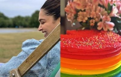 Colorful birthday cake made by Deepika for colorful Ranvir