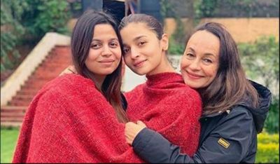 Alia shared a special photo with mother-sister; both sisters were draped in a red shawl