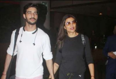 Sushmita Sen and boyfriend Rohman Shawl get spotted at the airport walking hand in hand