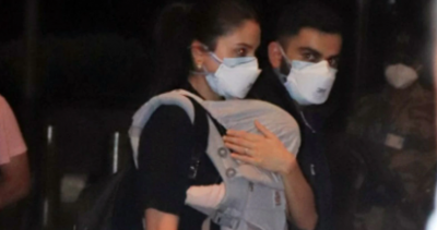 Anushka Sharma &Virat spotted with  daughter ahead of the ICC world test championship