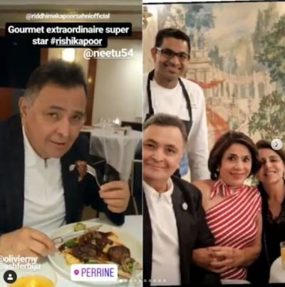 Rishi Kapoor enjoys with wife and daughter after winning half-war with cancer