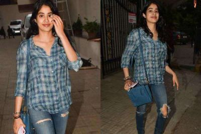 Posed in ripped jeans, Janhavi Kapoor seen outside Dharma office