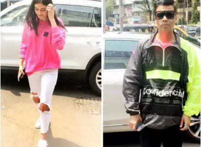 Ananya Pandey spotted at a restaurant with Karan Johar