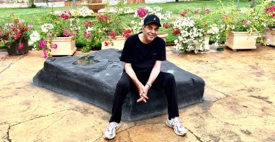 Colourful flowers are seen in Dharmendra's farmhouse; see picture