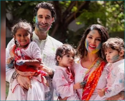 Sunny Leone celebrated Holi with husband and children