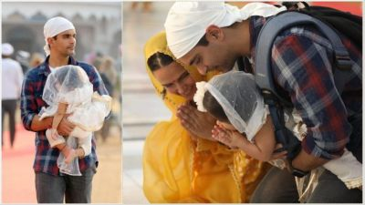 Angad Bedi-Neha Dhupia arrives at Golden Temple with daughter Meher, photos surfaced