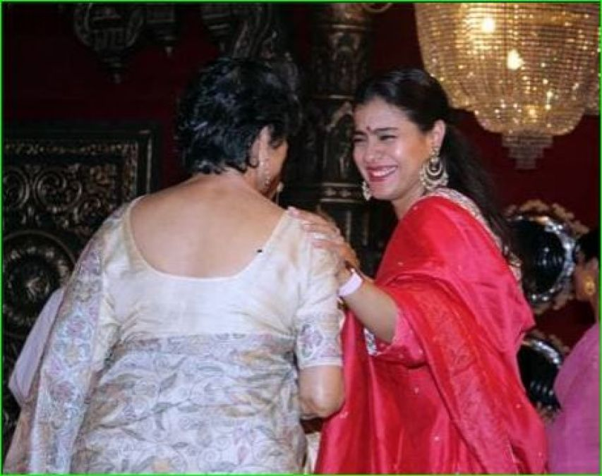 Kajol seen celebrating Durga Pooja with her mother and sister