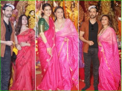 Alia Bhatt seen on Mahanavmi in a beautiful saree,  Kajol and Rani accompanied