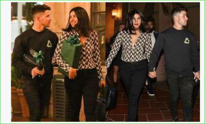 Priyanka was seen walking around the streets of New York carrying a gift with her husband