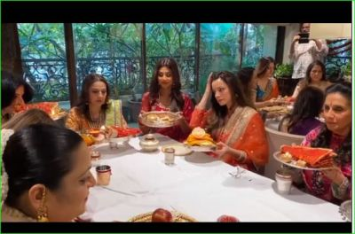 Shilpa Shetty celebrates Karvachauth with other actresses, shared video