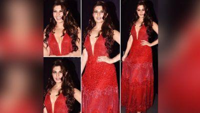 रेड ड्रेस में जैकलीन की दिलकश अदाएं देखकर आप भी उनके दीवाने हो जाएंगे