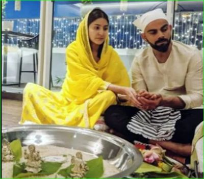 Anushka worships Diwali in simplicity with husband, pictures go viral