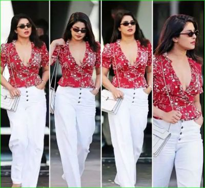 Priyanka Chopra looked very sexy in a floral top but husband Nick was seen!