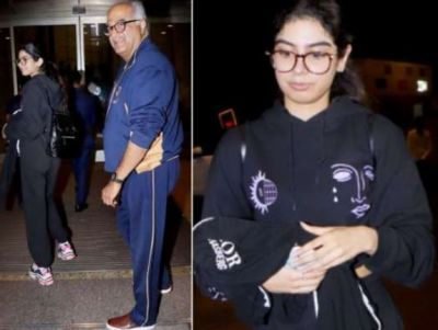 Khushi Kapoor leaves for America; Boney Kapoor gets emotional at the airport