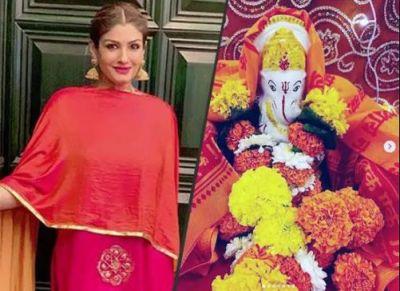 Raveena Tandon bid farewell to Bappa, immersed in a tub
