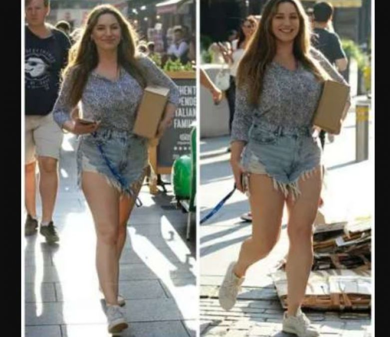 Kelly Brook looked bold enough in shorts, spotted on the streets of
